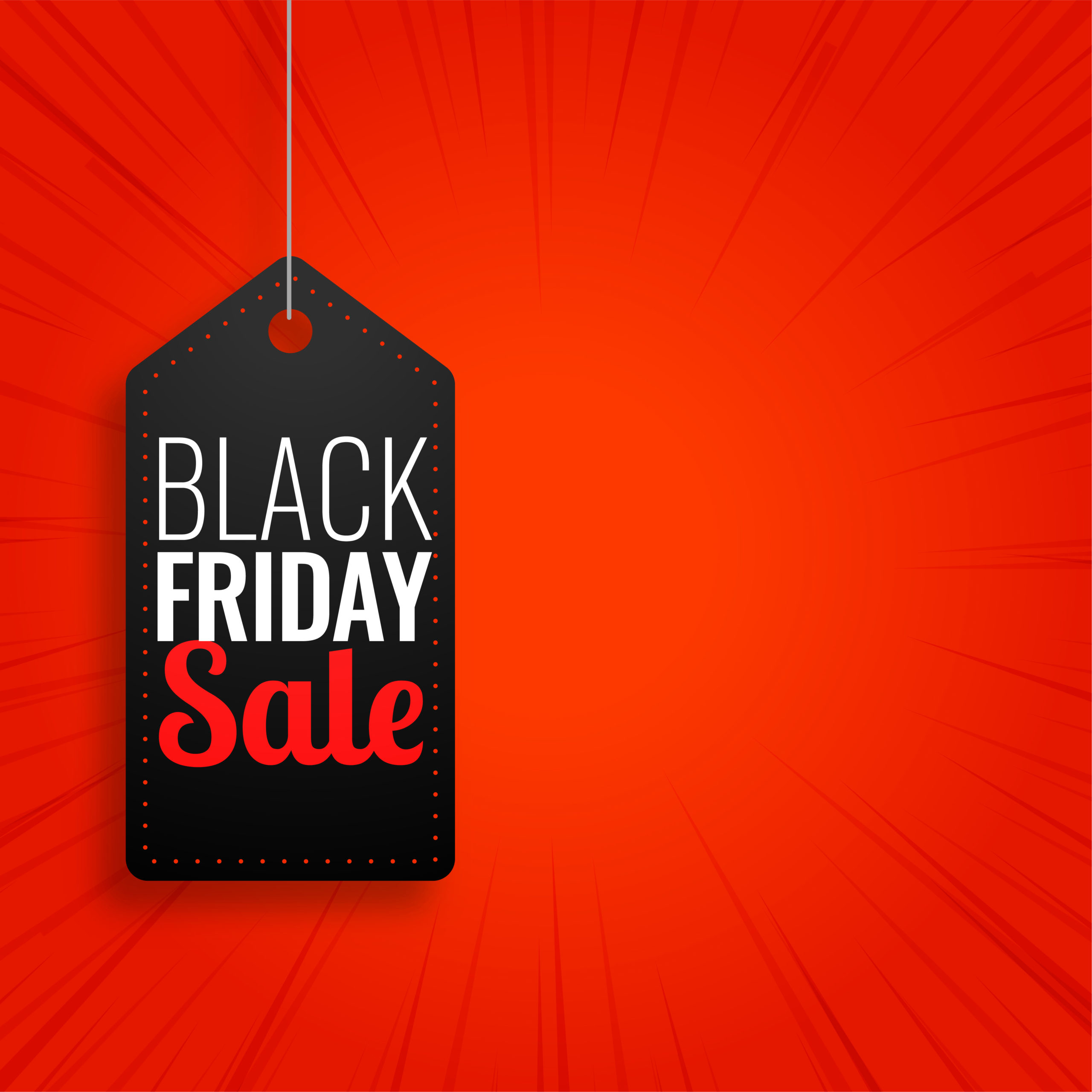 Black friday sale hanging tag on red background